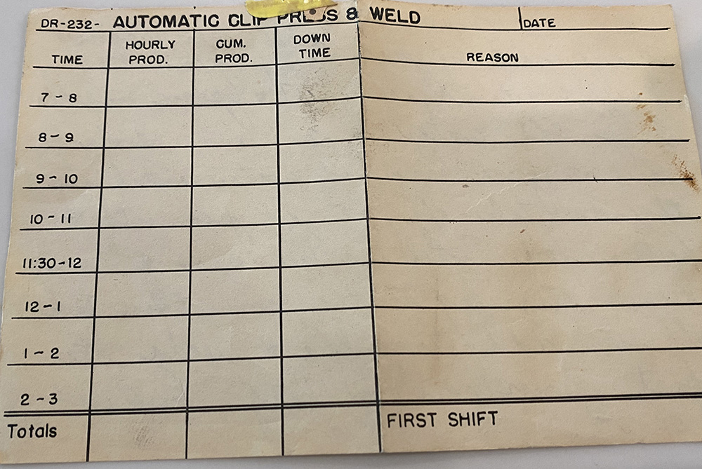 Delco Remy production tally sheet from the 1960's - Park Avenue Solutions