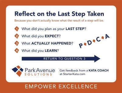 BACK of 5 Questions of Kata Card | Park Avenue Solutions